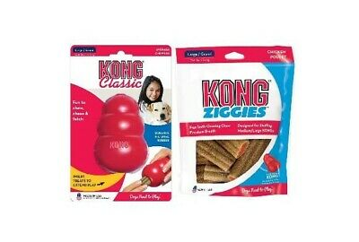 New KONG Classic Toy Large plus Kong Ziggie Stuffing Treats Large. Value Pack