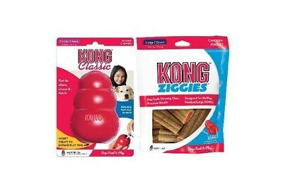 New KONG Classic Toy XLarge plus Kong Ziggie Stuffing Treats Large. Value Pack