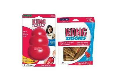 New KONG Classic Toy XXLarge plus Kong Ziggie Stuffing Treats Large. Value Pack