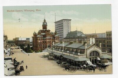 1910 WINNIPEG MANITOBA CANADA MARKET SQUARE Great Early View Post Card #2920