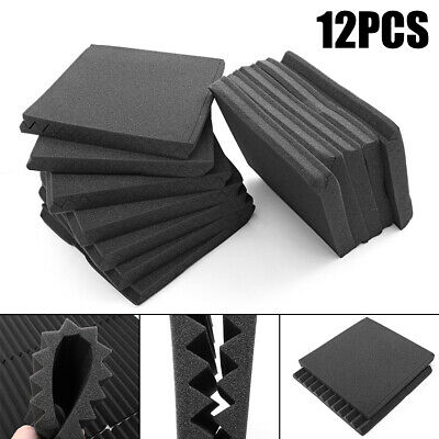 "12Pack 12"" X 12"" X 1"" Acoustic Foam Studio KTV Soundproofing Wall Tiles Panels"