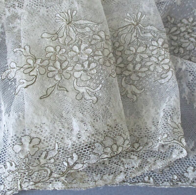 "Antique c1920s FLAPPER 12""-Wide French LACE Gold Metallic Needlerun FLOWERS 36"""