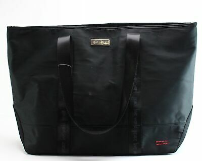 Love Peace World Black Solid Large Zip Top Handle Nylon EW Tote Bag $49- #037