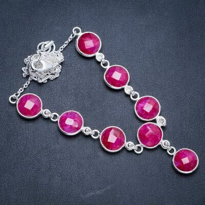 """Cherry Ruby 925 Sterling Silver Neacklace 17.25+1.5"""" Y5375"""