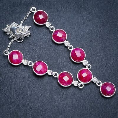 """Cherry Ruby 925 Sterling Silver Neacklace 17.25+1.5"""" Y5334"""