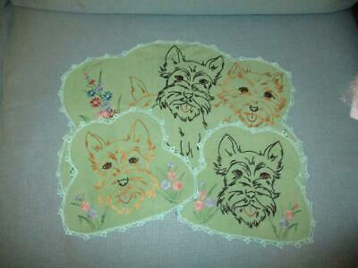Vintage SEMCO Hand Embroidered DRESSING TABLE SET X 3 Doilies TERRIERS DOGS
