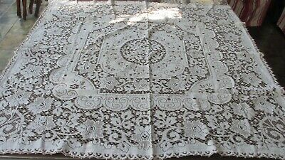 Vintage Cotton White & coffee Lace Table Cloth,115 cms x 110 cms
