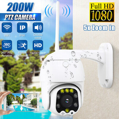 1080P Waterproof Outdoor WiFi PTZ Pan Tilt HD Security IP IR Camera Night Vision