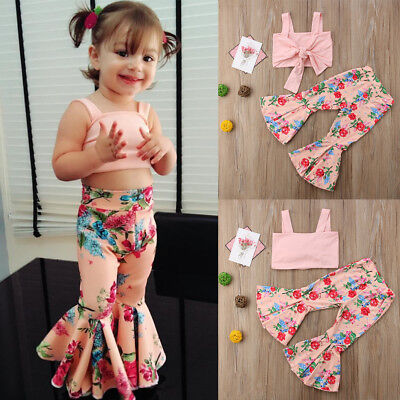 Toddler Kids Baby Girls T-shirt Tops+ boot cut pant Outfits Clothes 2PCS SetS