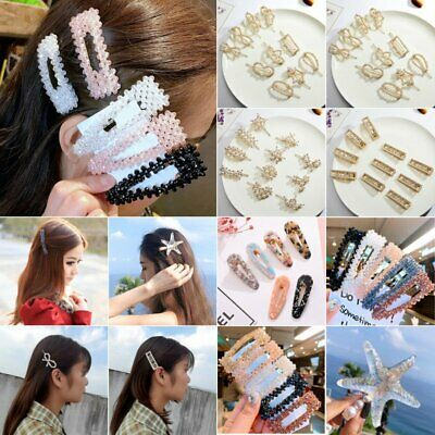 Women Girls Pearl Hair Clip Hairpin Grips Barrette Hair Accessories Headdress