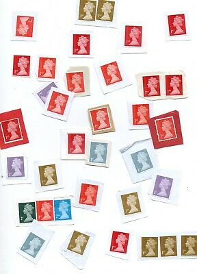 33 x FIRST CLASS UNFRANKED GB SECURITY POSTAGE STAMPS on paper