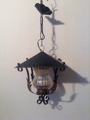 French Hooded Lantern Wrought Iron Style Pendant Ceiling Light (3742)