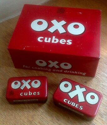 "3 c1950s ""OXO"" TINS, two 6 cube, one 24 x 6s ""sandwich"" size, all VGC"