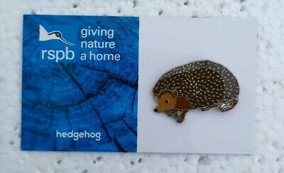 RSPB HEDGEHOG charity pin badge GNAH BRAND NEW DESIGN CARD