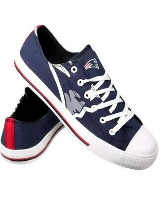 NFL New England Patriots Mens Team Logo Low-Top Canvas Sneakers Shoes Size 7-12