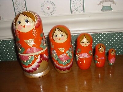 "Gabriella's Gifts-6"" Russian Nesting Dolls 5Pc Set-C-Orange-As Shown New-2018"