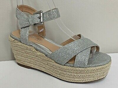 Dune Head Over Heels Silver Espadrill Wedges Size 3/36 Sandals