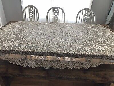 Vintage Filet Net Lace Crochet Table Cloth Cream Ivory Floral Handmade 80X68""