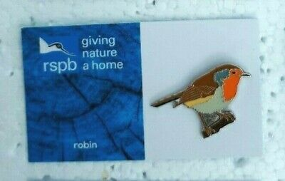 RSPB ROBIN charity pin badge GNAH BRAND NEW DESIGN CARD