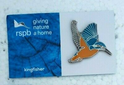 RSPB FLYING KINGFISHER charity pin badge GNAH BRAND NEW DESIGN CARD
