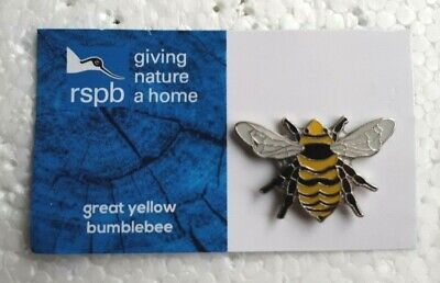 RSPB GREAT YELLOW BUMBLEBEE charity pin badge GNAH BRAND NEW DESIGN CARD