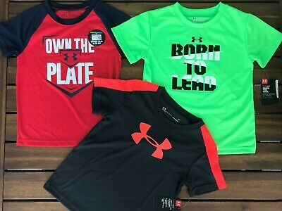 NWT New UA Under Armour Lot of 3 T-Shirts Tops Boys 3T $65 Gray Red Green
