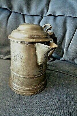 w ANTIQUE PRE 1800 PEWTER TAVERN PINT LIDDED TANKARD WITH JUG LIP