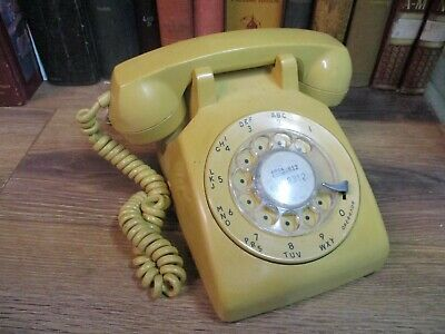 Rotary Dial Desk Telephone Phone Gold  Retro Itt Western Electric Pastel 1983