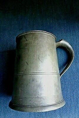 w FINE EARLY 1800S PEWTER IMPERIAL QUART TANKARD JOSEPH MORGAN BRISTOL