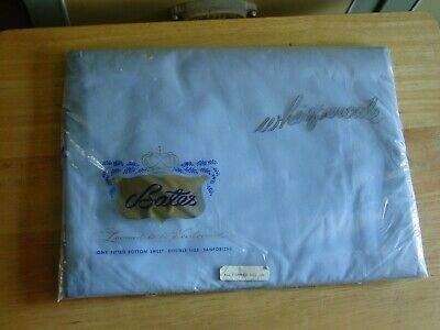 Vintage BATES WHISPERCALE Pastel Blue Fitted Sheet Combed Cotton -NOS Sealed