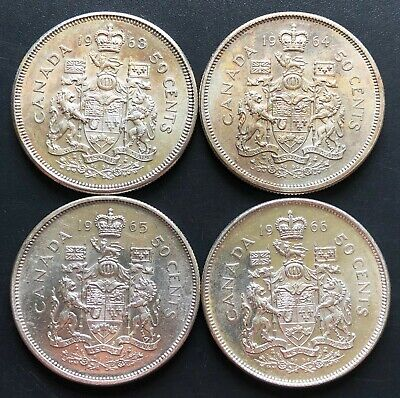 Lot of 4x Canada Silver 50 Cent Half Dollars - Dates: 1963, 1964, 1965, 1966