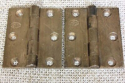"2 shutter cabinet door Hinges 1880's vintage old 2 x 1 3/4"" bronze signed Adams"