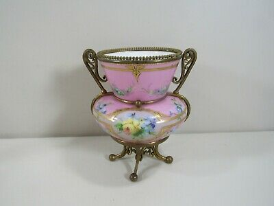 Gorgeous Vintage Porcelain Hand Painted Urn Vase with Ormolu Mount Stand