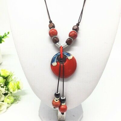Fashion Ceramics Beads Pendant Ethnic Long Necklace Chain Blue/Red Jewelry Style