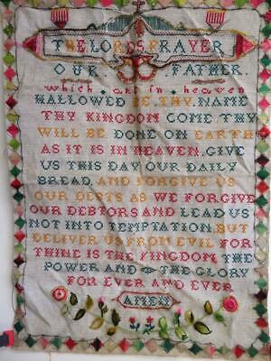 really old sampler embroidery THE LORDS PRAYER