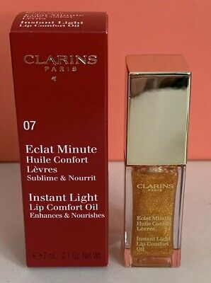 CLARINS Instant Light Lip Comfort Oil 07 Honey Glam 7ml BRAND NEW IN BOX Auth