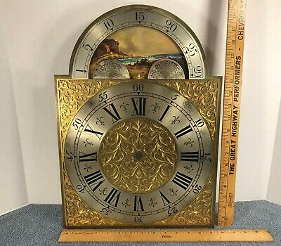 Antique Longcase Grandfather Brass Clock Moon Dial Vintage Painting