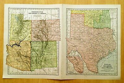 Antique Maps 1896 INDIAN TERRITORY, TEXAS, OK 19 1/4 X 12 1/4 Original + MI,WI +