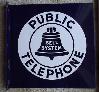Vintage *BELL SYSTEM* Public Telephone Large Two Sided Flanged Metal Sign 18x18