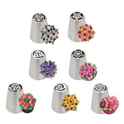 7pcs set Russian Nozzles Tulip Icing Piping Tips Cake Decoration Pastry Flowers