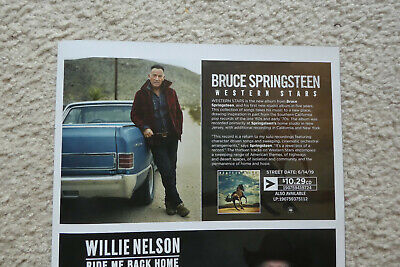 """BRUCE SPRINGSTEEN """"Western Stars"""" 2019 Music Mag.PROMO Poster 1/2 Pg. Ad-Beauty!"""