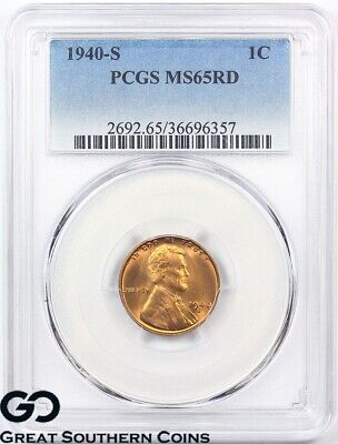 1940-S PCGS Lincoln Cent Wheat Penny PCGS MS 65 ** Blazer!