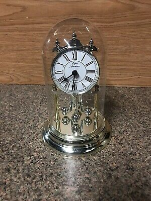 Vintage Elgin Quartz Table/Mantle Clock With Glass Dome Brass Base Made In U.S.A