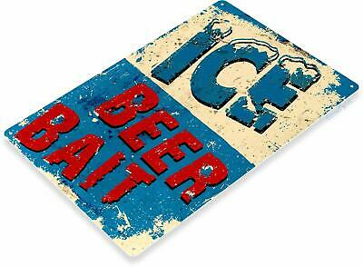 Ice Beer And Bait Fishing Rustic Tin Metal Sign
