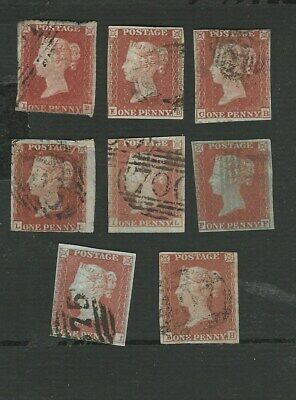 1841 QUEEN VICTORIA. 8 x 1d RED - BROWN IMPERF STAMPS. SG. No.8 GOOD USED