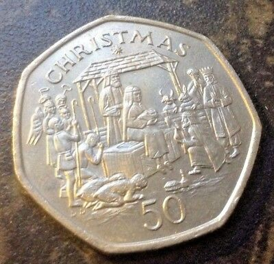 🎄 RARE 1991 A NATIVITY SCENE  Isle of Man Christmas 50p Fifty pence Coin (4/11)