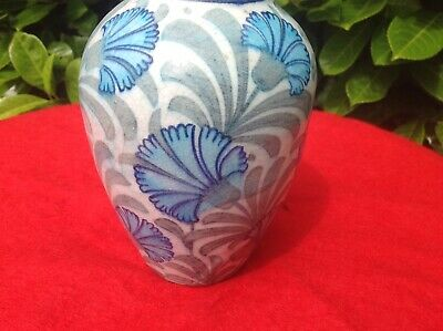 William De Morgan Floral Vase, Persian Pallet , Decorated With Blue Carnations.