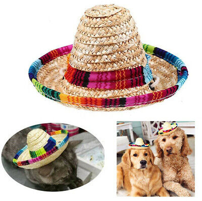 Colorful Pet Straw Hat Dog Cat Mexican Straw Sombrero Adjustable Buckle Hats