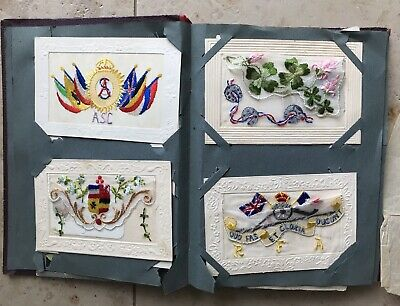 Beautiful Antique WWI Postcard Album With 12 Embroidered Cards