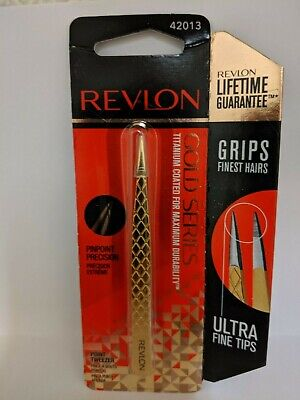 NEW Revlon Gold Series Titanium Coated Pinpoint Precision Point Tweezers 42013
